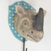 Rhino Head Wall Mount With Hook & Shield