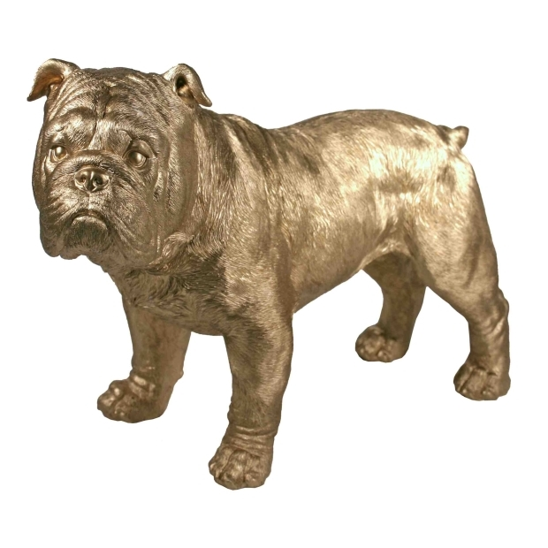 Super Golden English Bulldog Statue | Naked Decor FI98